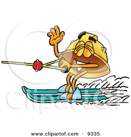 Clipart Picture of a Hard Hat Mascot Cartoon Character Waving While Water Skiing by Toons4Biz
