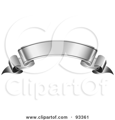 Royalty-Free (RF) Clipart Illustration of a Blank Arched Silver Ribbon Banner by TA Images