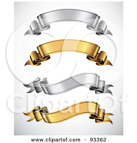 Royalty-Free (RF) Clipart Illustration of a Digital Collage Of Arched And Wavy Gold And Silver Blank Ribbon Banners by TA Images