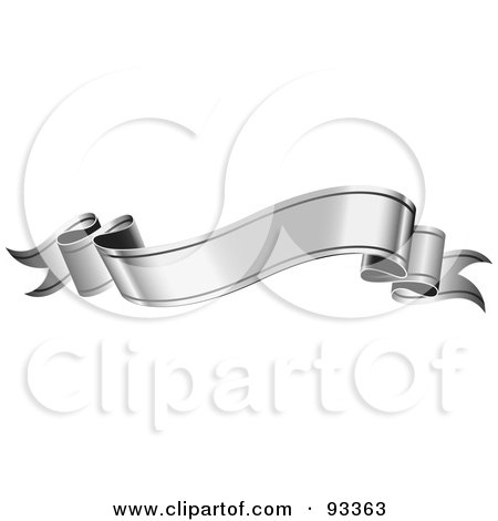 Royalty-Free (RF) Clipart Illustration of a Blank Wavy Silver Ribbon Banner by TA Images