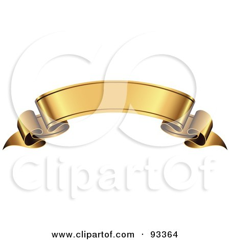 Royalty-Free (RF) Clipart Illustration of a Blank Arched Gold Ribbon Banner by TA Images