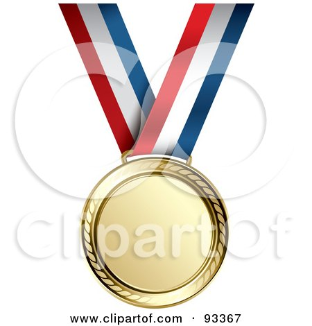 Royalty-Free (RF) Clipart Illustration of a Gold Medal Award On A Red, White And Blue Ribbon by TA Images
