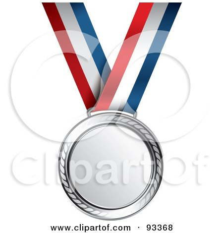 Royalty-Free (RF) Clipart Illustration of a Silver Medal Award On A Red, White And Blue Ribbon by TA Images