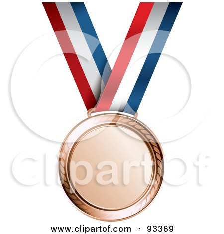 Royalty-Free (RF) Clipart Illustration of a Bronze Medal Award On A Red, White And Blue Ribbon by TA Images
