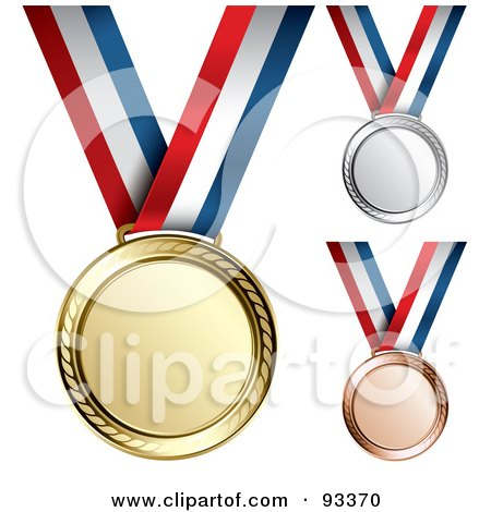 Royalty-Free (RF) Clipart Illustration of a Digital Collage Of Gold, Bronze And Silver Medal Award On A Red, White And Blue Ribbon by TA Images