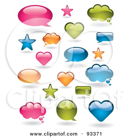 Royalty-Free (RF) Clipart Illustration of a Digital Collage Of Shiny Pink, Orange, Blue And Green Word Balloons In Different Shapes by TA Images