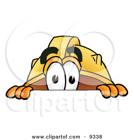 Clipart Picture of a Hard Hat Mascot Cartoon Character Peeking Over a Surface by Toons4Biz