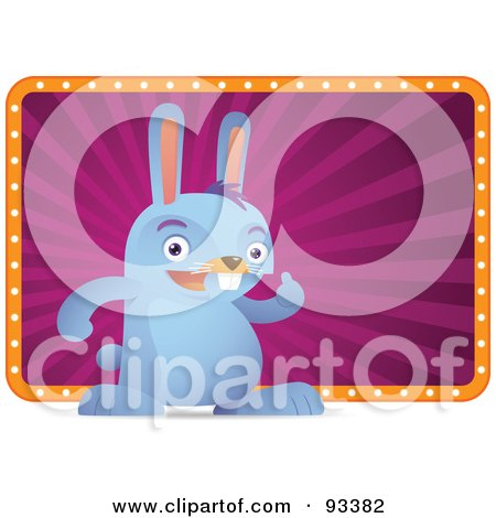 Royalty-Free (RF) Clipart Illustration of a Blue Rabbit Standing In Front Of A Purple And Orange Sign by Qiun