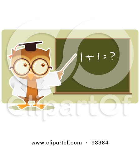 Royalty-Free (RF) Clipart Illustration of an Owl Teacher Teaching Math And Pointing To A Board by Qiun