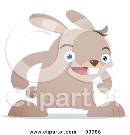 Royalty-Free (RF) Clipart Illustration of a Beige Rabbit Facing Front And Smiling by Qiun