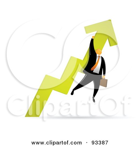 Royalty-Free (RF) Clipart Illustration of an Orange Faceless Businessman Holding Onto A Green Arrow As It Heads Up by Qiun