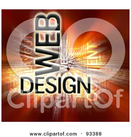 Royalty-Free (RF) Clipart Illustration of a Bursting Web Design Word Collage On Red by MacX