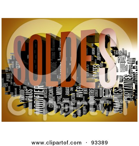 Royalty-Free (RF) Clipart Illustration of a 3d Soldes Word Collage On Orange by MacX