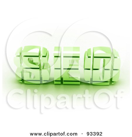 Royalty-Free (RF) Clipart Illustration of 3d Green SEO by MacX
