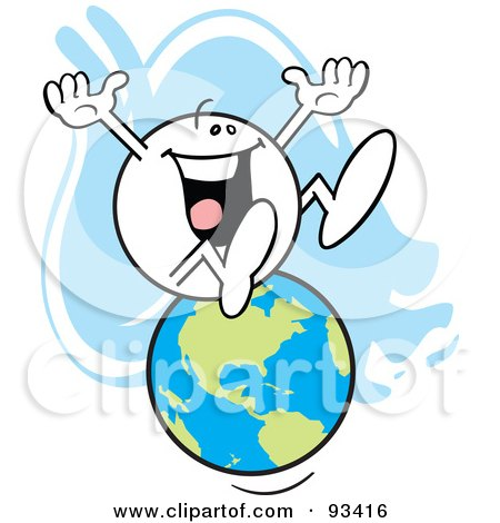 Royalty-Free (RF) Clipart Illustration of a Moodie Character Sitting On The Globe by Johnny Sajem