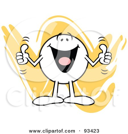 Royalty-Free (RF) Clipart Illustration of a Moodie Character Holding Two Thumbs Up by Johnny Sajem