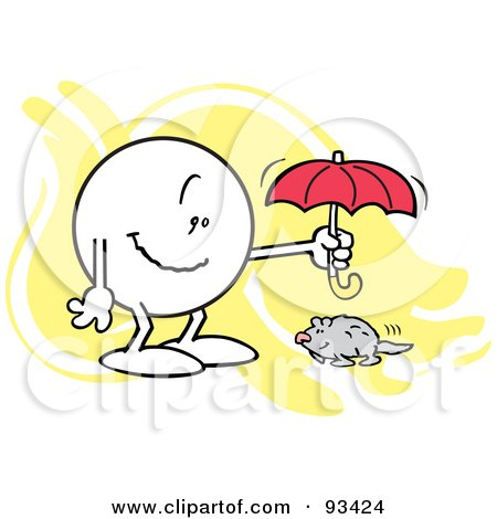 Royalty-Free (RF) Clipart Illustration of a Moodie Character Holding An Umbrella Over A Groundhog by Johnny Sajem