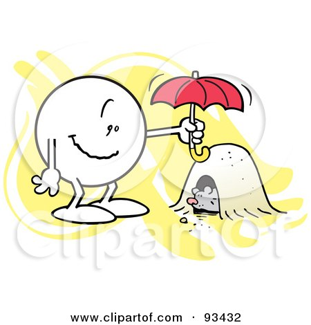 Royalty-Free (RF) Clipart Illustration of a Moodie Character Holding An Umbrella Over A Groundhog's Den by Johnny Sajem