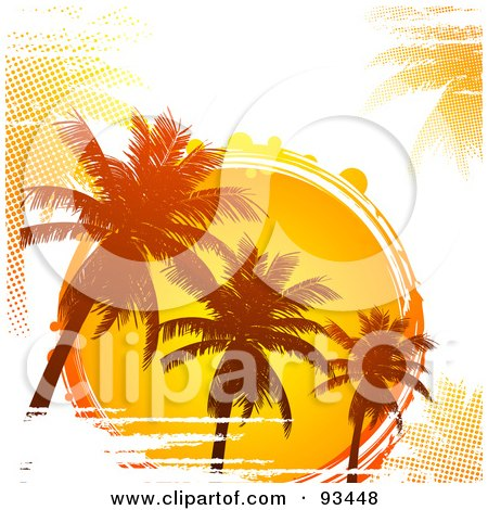 Royalty-Free (RF) Clipart Illustration of a Grungy Tropical Sun Circle With Silhouetted Palm Trees And Halftone On White by elaineitalia