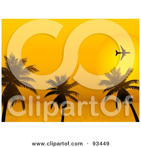 Royalty-Free (RF) Clipart Illustration of a Silhouetted Airplane Flying Over Palm Trees Against An Orange Tropical Sunset by elaineitalia