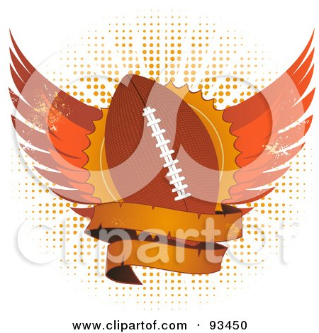 Royalty-Free (RF) Clipart Illustration of a Grungy Football Shield With Wings And A Blank Banner Over Halftone by elaineitalia