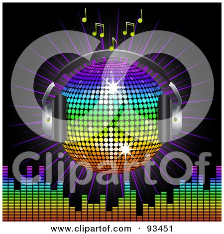 Royalty Free RF Clipart Illustration Of A Winged Rainbow Disco Ball Globe With Headphones With Music Notes A Burst And A Equalizer Bars On Black