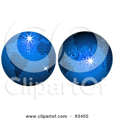 Royalty-Free (RF) Clipart Illustration of a Digital Collage Of Blue Disco Ball Globes by elaineitalia