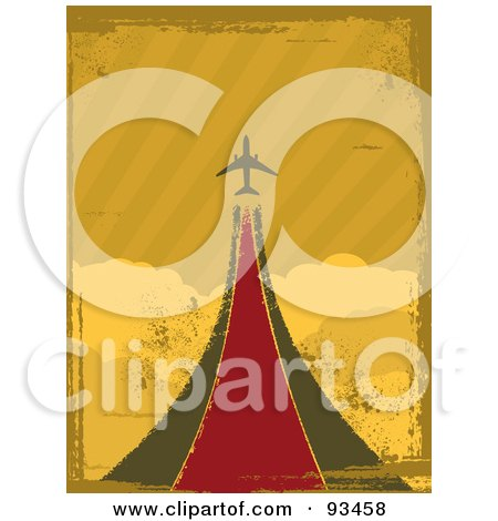 Royalty-Free (RF) Clipart Illustration of a Grungy Retro Airplane Taking Off Over Clouds by elaineitalia