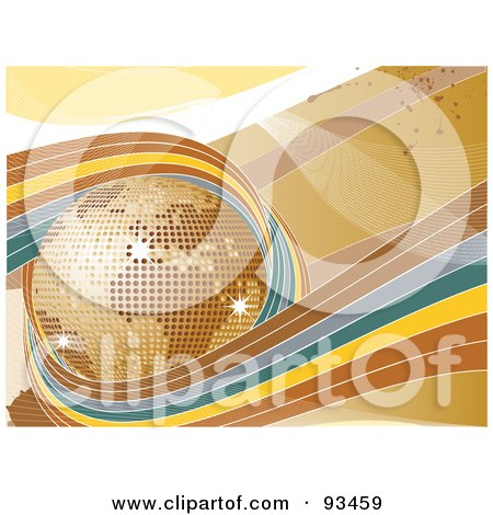 Royalty-Free (RF) Clipart Illustration of Brown, Blue And Yellow Waves Circling A Golden Disco Globe  by elaineitalia