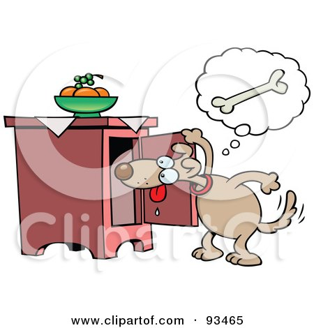 Royalty-Free (RF) Clipart Illustration of a Toon Dog Looking In A Cabinet For A Bone by gnurf