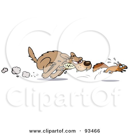 Royalty-Free (RF) Clipart Illustration of an Aggressive Toon Dog Chasing After A Scared Little Squirrel by gnurf