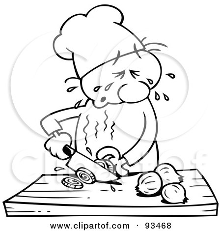 Royalty-Free (RF) Clipart Illustration of an Outlined Chef Toon Guy Slicing Onions And Crying by gnurf