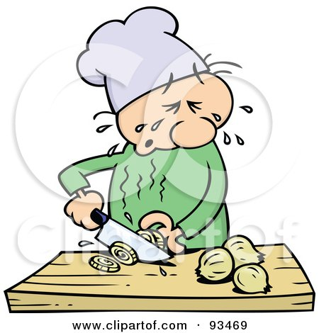 Royalty-Free (RF) Clipart Illustration of a Chef Toon Guy Crying While Slicing Yellow Onions by gnurf