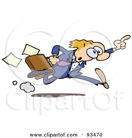 Royalty-Free (RF) Clipart Illustration of a Business Toon Guy Running And Holding Up His Finger by gnurf
