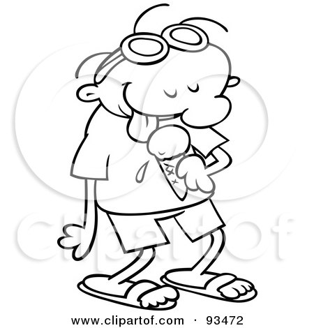 Royalty-Free (RF) Clipart Illustration of an Outlined Happy Summer Toon Guy Licking An Ice Cream Cone by gnurf