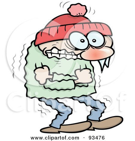 Royalty-Free (RF) Clipart Illustration of a Shivering Winter Toon Guy Hugging Himself To Keep Warm