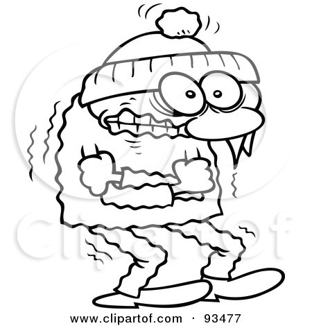 Royalty-Free (RF) Clipart Illustration of an Outlined Shivering Winter Toon Guy Trying To Keep Warm by gnurf