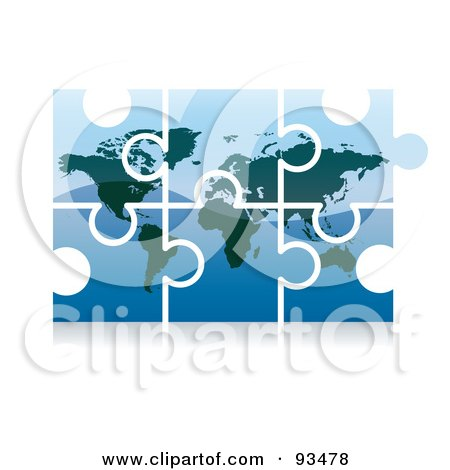 Royalty-Free (RF) Clipart Illustration of a 3d Blue World Puzzle App Icon by MilsiArt