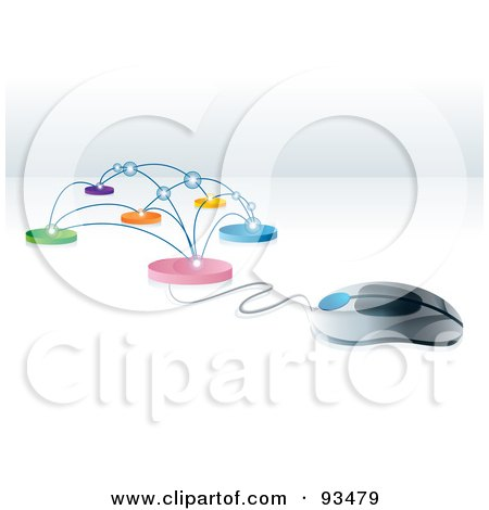 Royalty-Free (RF) Clipart Illustration of a 3d Computer Mouse Connected To A Network by MilsiArt