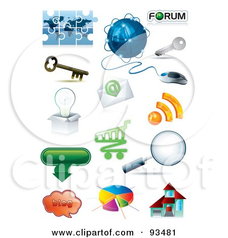 Royalty-Free (RF) Clipart Illustration of a Digital Collage Of 3d Internet And App Icons by MilsiArt