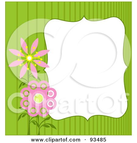 Royalty-Free (RF) Clipart Illustration of a White Text Box Bordered With Green Stripes And Pink Flowers by Pushkin