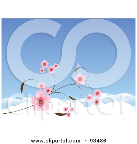 Royalty-Free (RF) Clipart Illustration of a Background Of Pink Cherry Blossoms Against A Blue Sky With Clouds by Pushkin