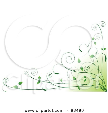 Royalty-Free (RF) Clipart Illustration of a Background Of Green Organic Vines In The Bottom Right Corner On White by Pushkin