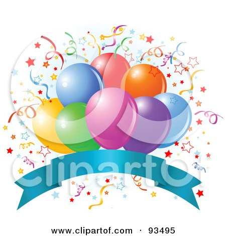 Royalty-Free (RF) Clipart Illustration of a Bunch Of Colorful Party Balloons And Confetti Ribbons Over A Blank Blue Banner by Pushkin
