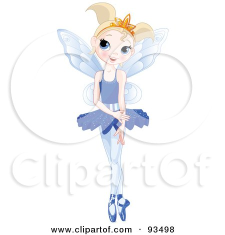 Royalty-Free (RF) Clipart Illustration of a Dancing Blond Ballerina Fairy Girl In A Blue Tutu by Pushkin