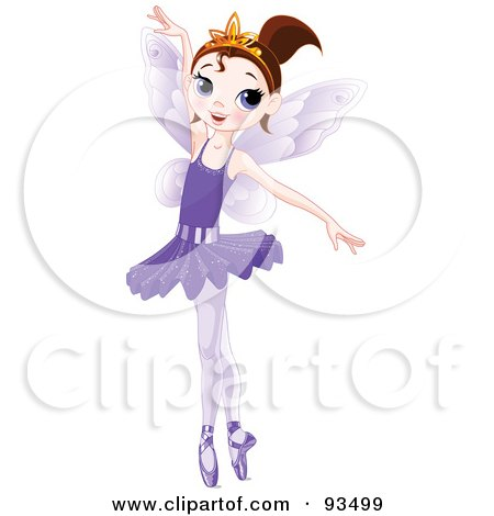 Royalty-Free (RF) Clipart Illustration of a Dancing Brunette Ballerina Fairy Girl In A Purple Tutu by Pushkin