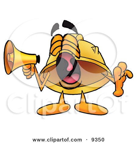 Clipart Picture of a Hard Hat Mascot Cartoon Character Screaming Into a Megaphone by Toons4Biz