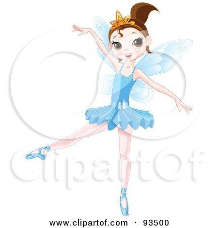 Royalty-Free (RF) Clipart Illustration of a Dancing Brunette Ballerina Fairy Girl In A Blue Tutu by Pushkin