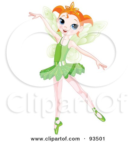 Royalty-Free (RF) Clipart Illustration of a Dancing Red Haired Ballerina Fairy Girl In A Green Tutu by Pushkin