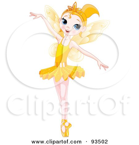 Royalty-Free (RF) Clipart Illustration of a Dancing Blond Ballerina Fairy Girl In A Yellow Tutu by Pushkin